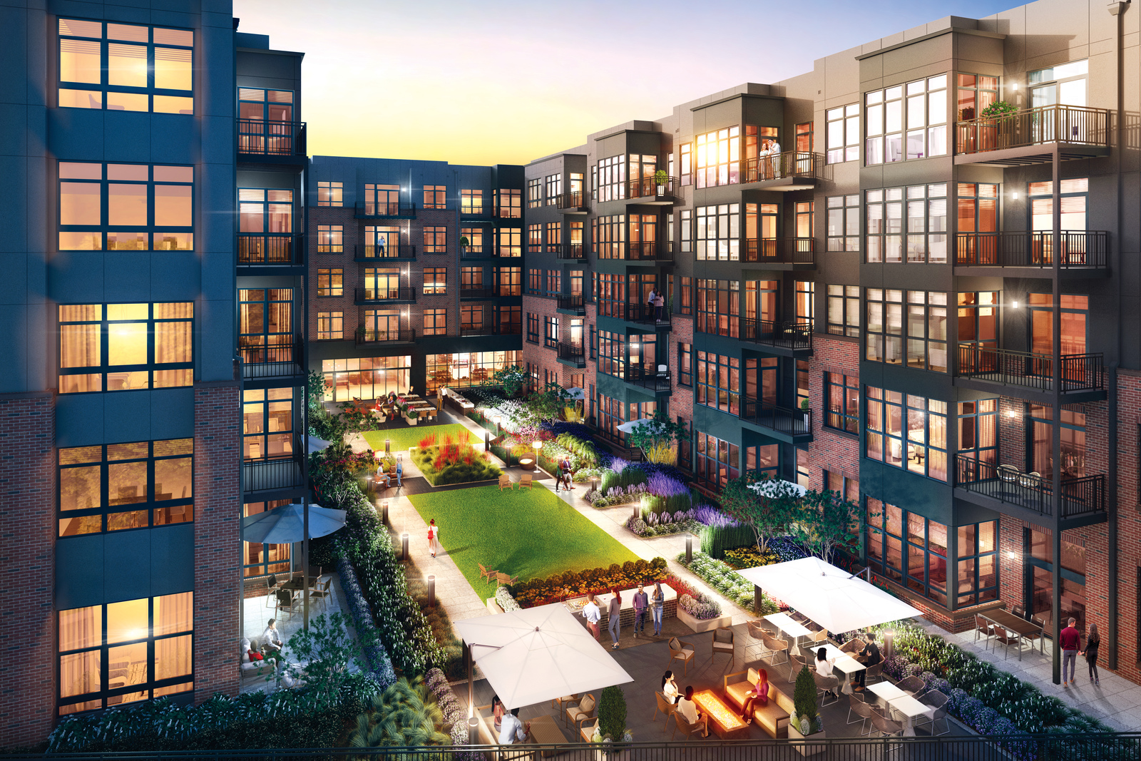 At The Bexley, residents will enjoy individual balconies or patios as well as the building's private resident courtyard for entertaining, grilling, or relaxing.