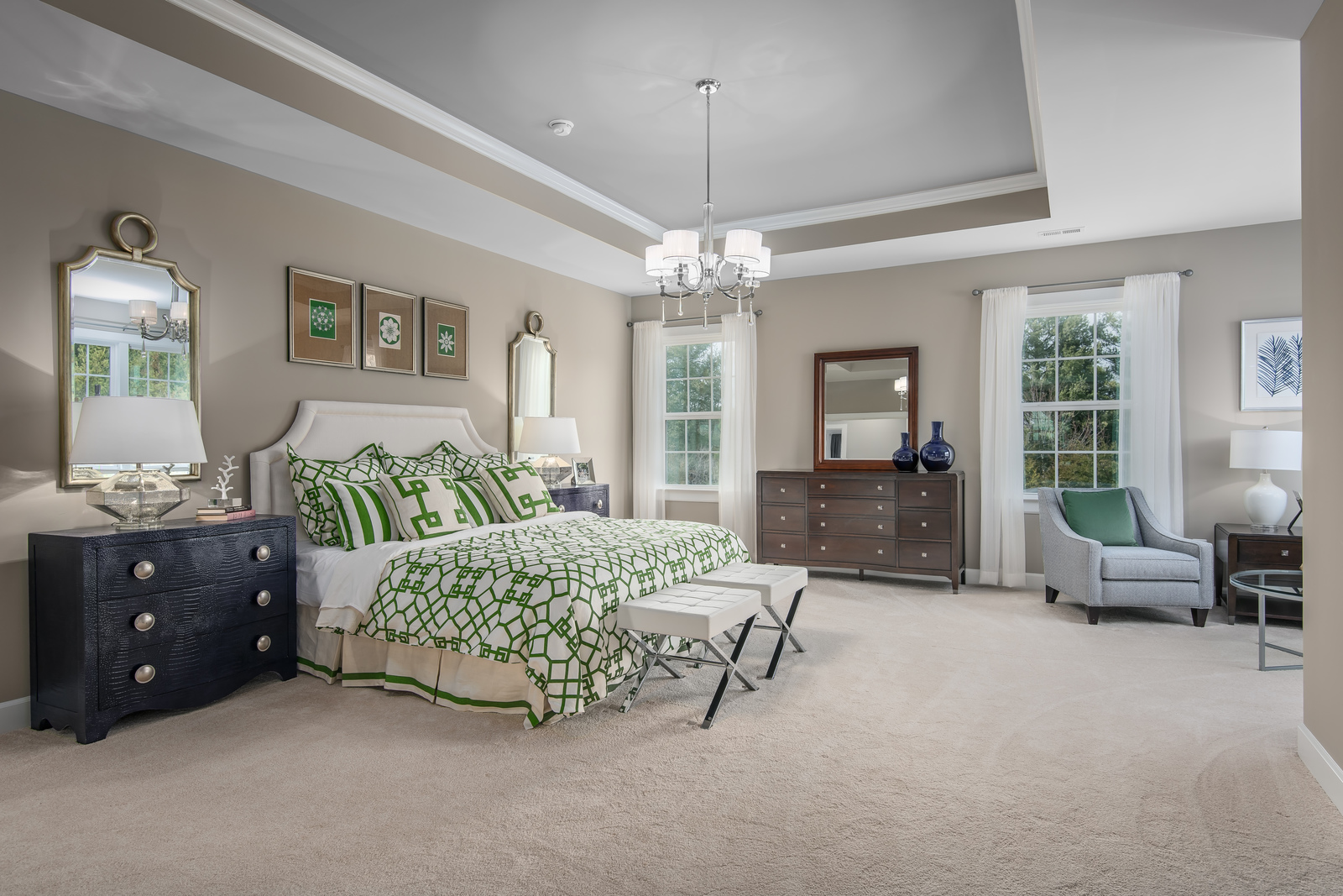 The NVHomes owner's suite offers dual walk-in closets, spa bath and tray ceiling included.