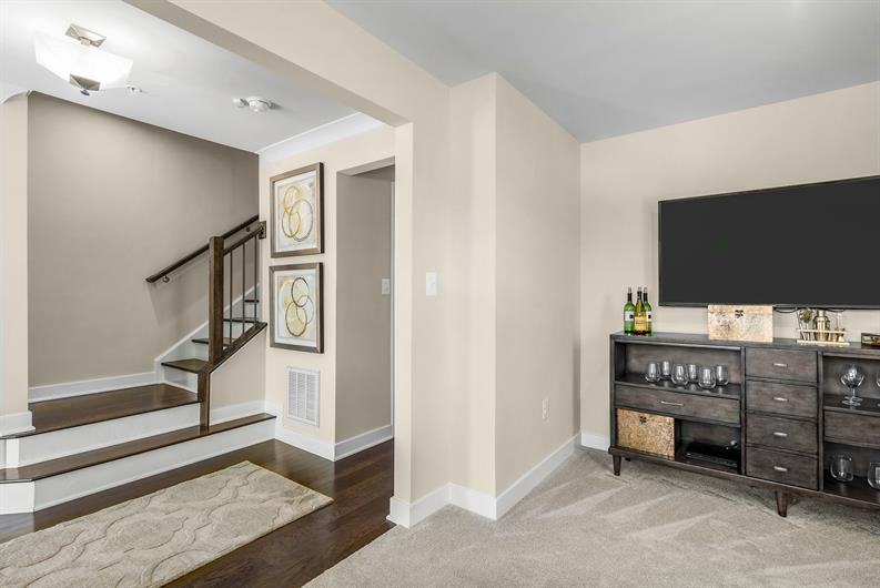 INCLUDED FINISHED REC ROOM in townhome floorplans