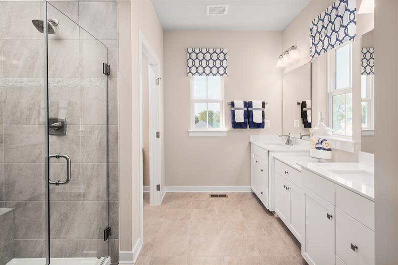 MORNING ROUTINES MADE EASY WITH DUAL VANITIES AND EXTRA STORAGE