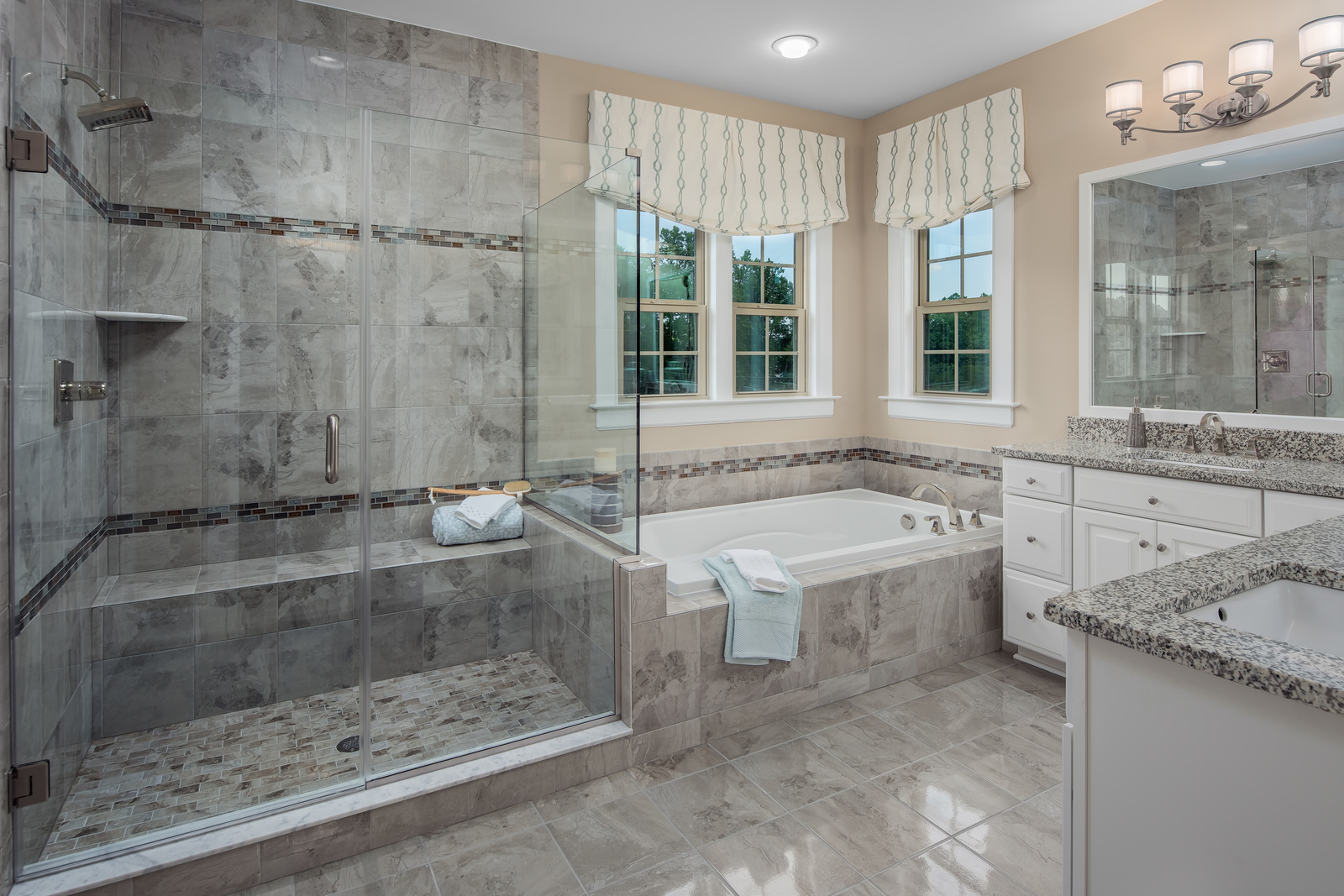 With Roman showers and soaking tubs, you won't need to leave home to feel pampered.
