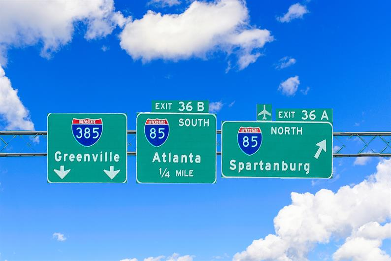 You'll be located less than 2 miles from I-85