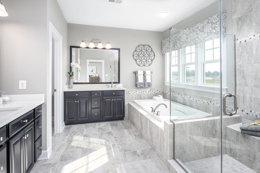 NVHomes includes designer tile, mud-set tile floor, frameless shower doors, and decorative lighting.