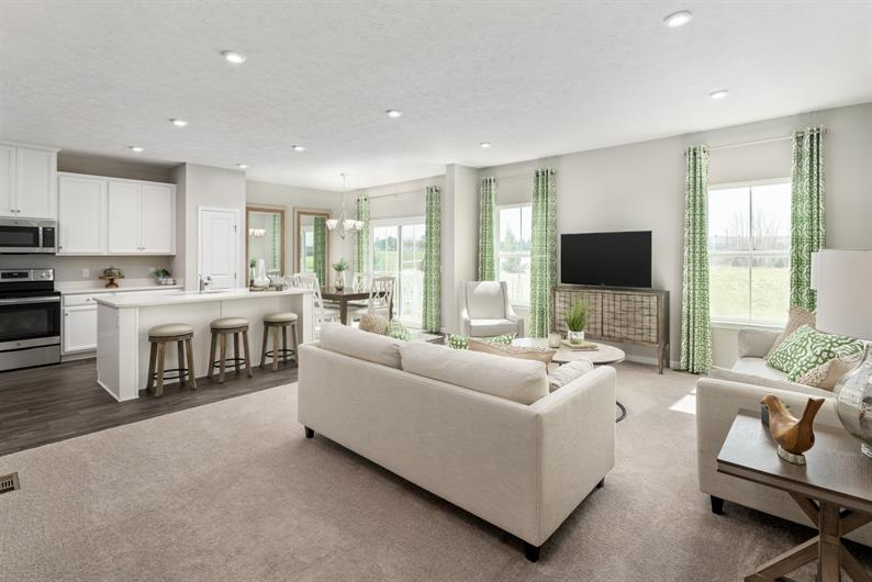 OPEN CONCEPT FLOORPLAN WITH LIVING SPACES THAT FLOW TOGETHER