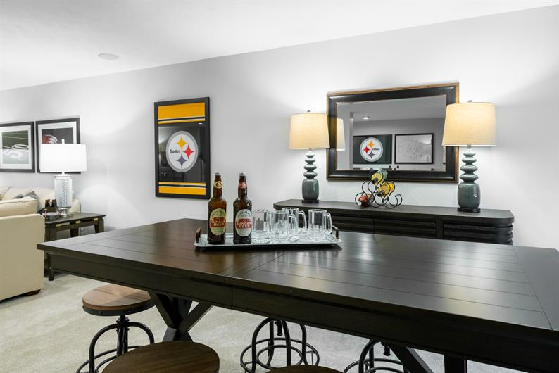 Have a basement to cheer on the Steelers and Mountaineers