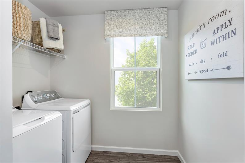 LAUNDRY DAY IS A BREEZE WITH AN INCLUDED WASHER AND DRYER JUST STEPS AWAY