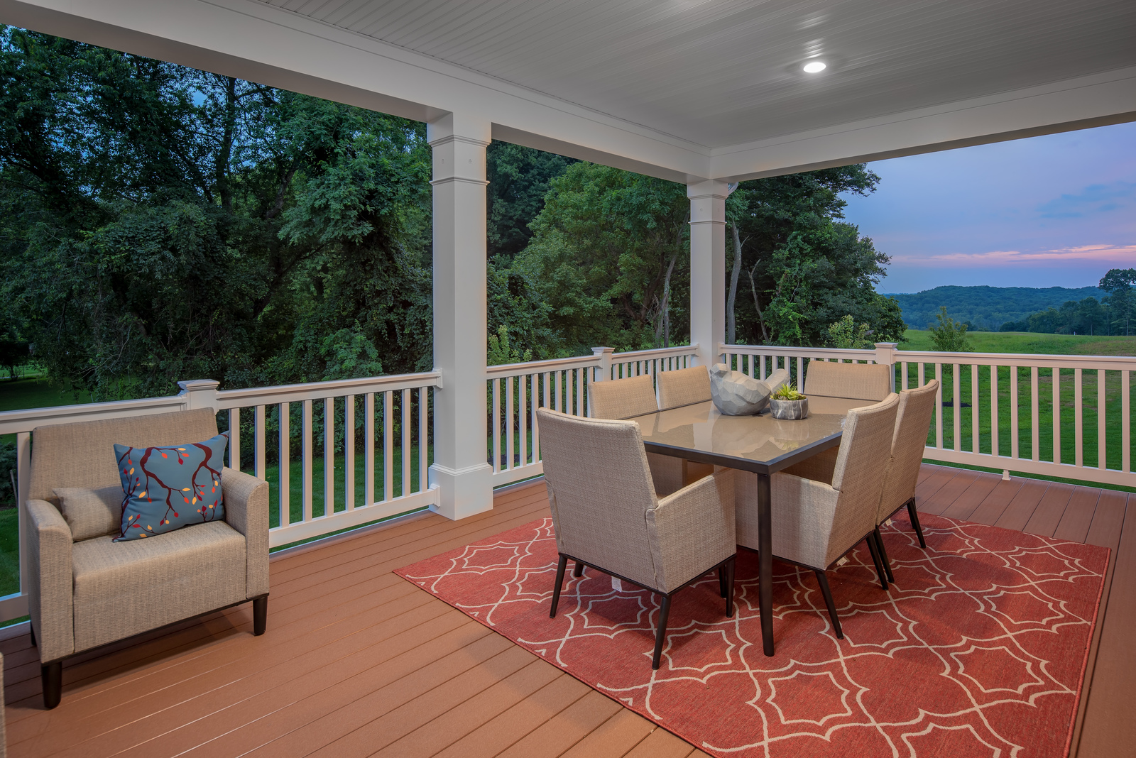 The NVHomes covered porch option is perfect for dining al fresco any time of year.
