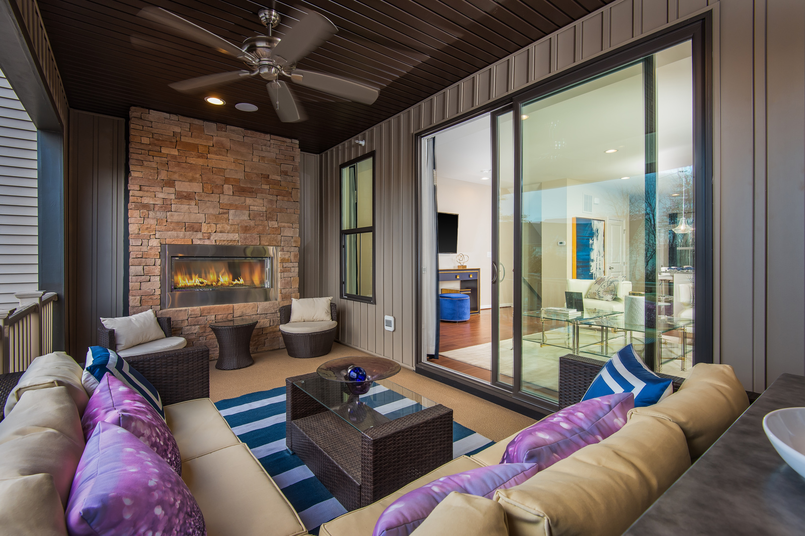 Enjoy outdoor living right where you want it - on the main living level! Our SkyLanai at Metro Row is a covered porch with all the privacy you desire and offers outdoor entertaining options all year long.