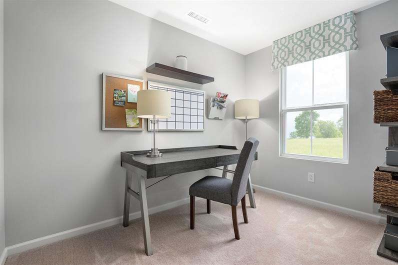 Some floorplans include a flex space for an office or craft room