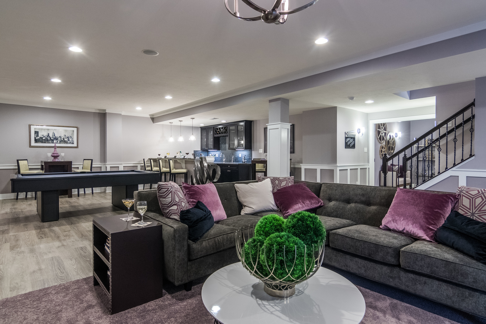 A finished basement offers so many more entertaining opportunities!