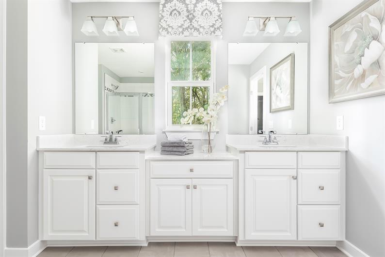 PRIVATE EN SUITE WITH DUAL VANITIES FOR EASY MORNING ROUTINES​