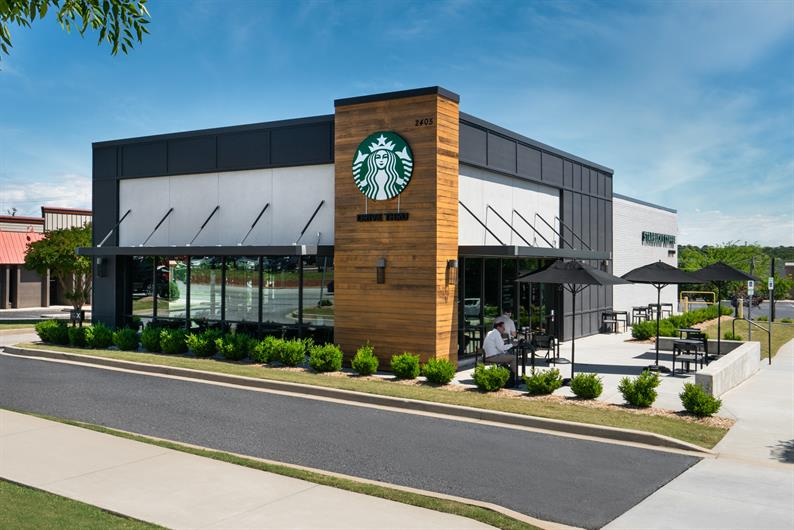 Just walk across the street to grab a cup of coffee at Starbucks!