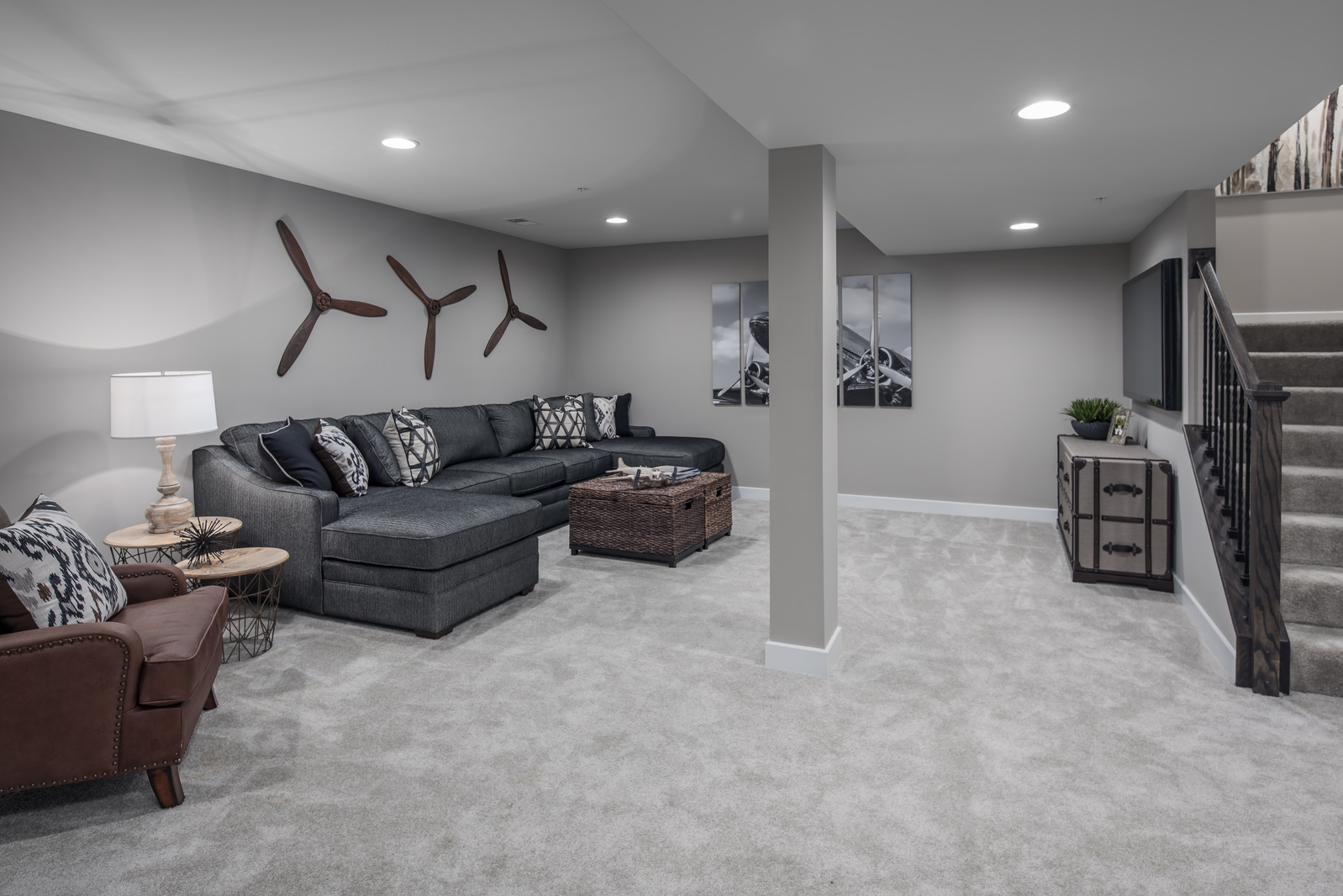 An optional full finished lower level at Adams Park is the ideal space for movie and game nights in the huge entertainment space!