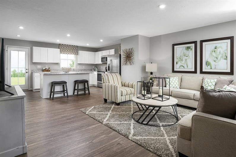 There's plenty of space in the open floor plan Kitchen and Family Room