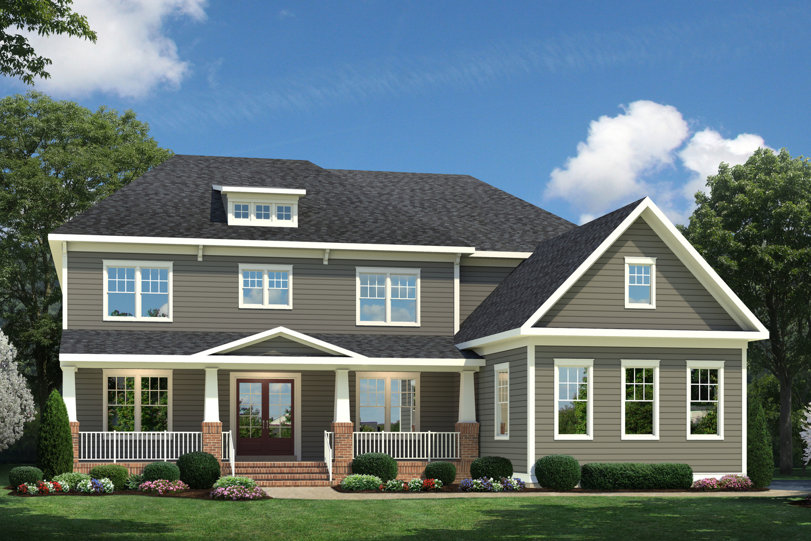 Elevation L is available with an estate-like front porch, hardi-panel siding and side-load garage.