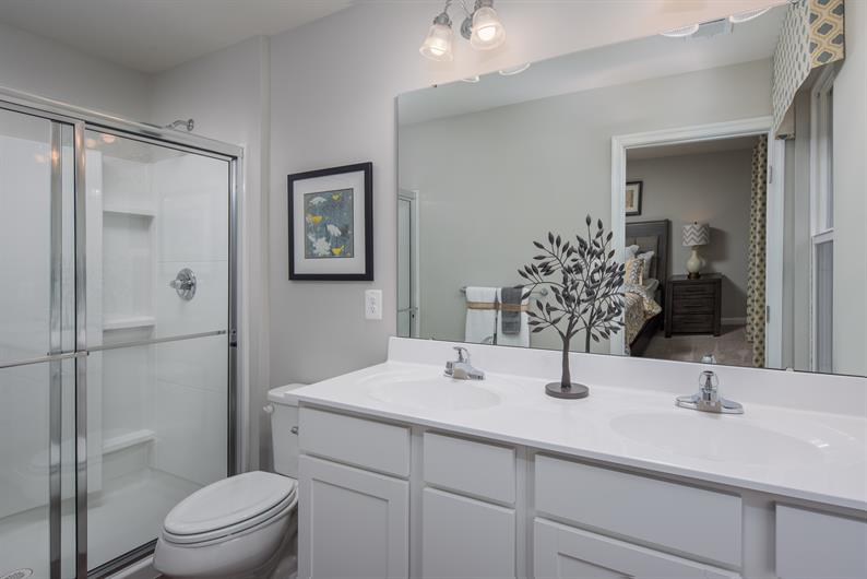 Gain some much needed space with dual vanities