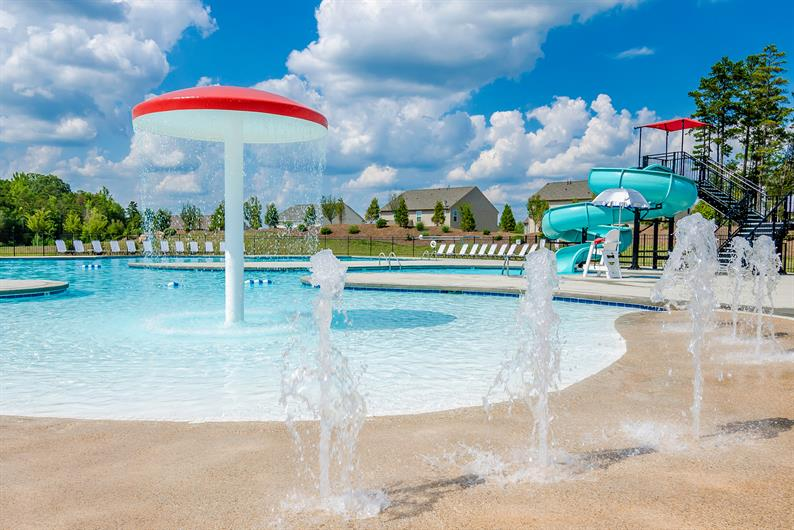 Community Pool with Slide and Splash Pad